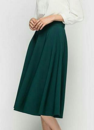 Юбка миди изумрудного цвета юбка высокая посадка