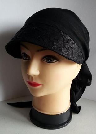 Бандана - косынка женская. черный  шифон, крэш - коттон.  ручная работа. цена: 120 гр.