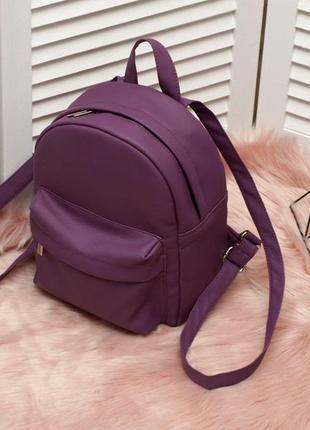 Небольшой удобный рюкзак фиолетового цвета, кожзам2 фото