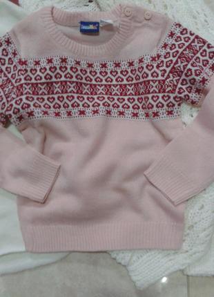Теплый свитер кофта скандинавский узор 86-92 и 110-116 германия lupilu1