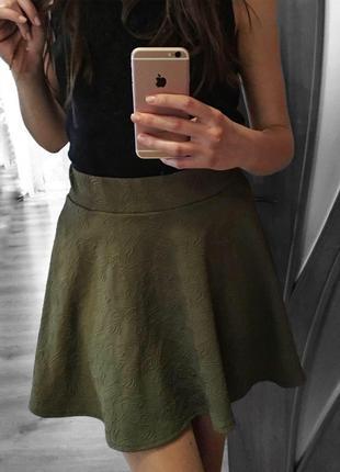 Юбка цвета хаки, спідниця міні, юбка мини