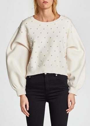 Шикарный свитер свободного кроя с обьемными рукавами и бусинами