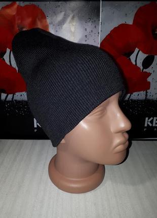 Двухслойная удлиненная женская шапка в рубчик, тёмно-серый