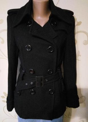 63% шерсть . стильное двубортное пальто коут пиджак