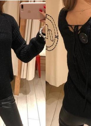 вязаный свитер с вышивкой House тёплый пуловер чёрный джемпер есть