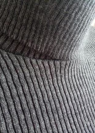 Гольф в рубчик лапша    темно серый4 фото