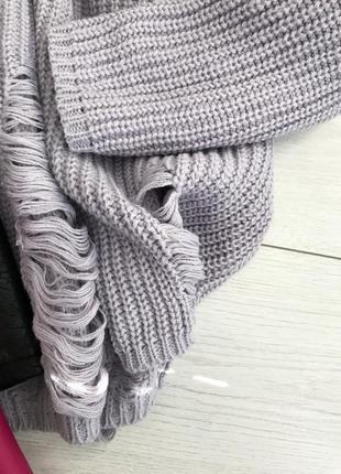 Лавандовый свитер с рванностями new look