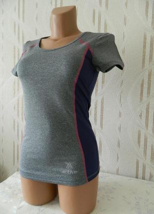 Спортивная футболка crivit sport серый меланж с цветными вставками одежда для спорта р.s