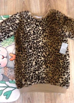 Теплое, плюшевое, леопардовое платье, туника matalan на 4-6 лет. новое, с биркой!