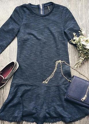 Тёплое короткое синее платье с длинным рукавом