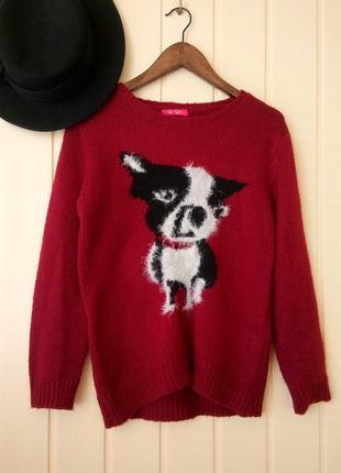 Теплый мягкий свитер джемпер с принтом собакой