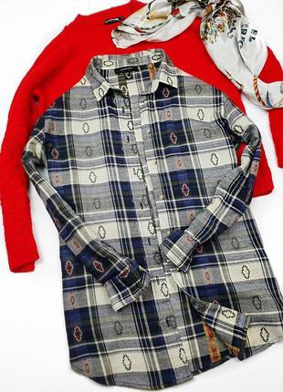 Рубашка фланелевая теплая в клетку клечатая ковбойская