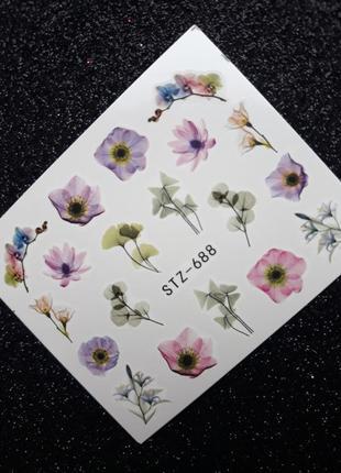 🌸🥀🌹 слайдеры для дизайна ногтей водные наклейки на гель лак стикеры