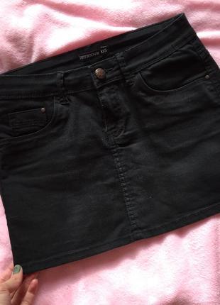 Чёрная джинсовая короткая юбка