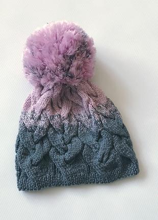 Шапка из merino wool в стиле градиент с бубоном, ручная работа