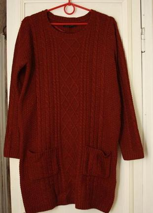 Вязаное платье туника бордовый меланж