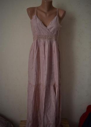 Новое натуральное длинное платье с вышивкой