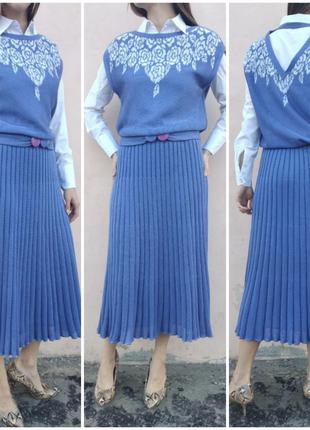 a0add96c7dd Винтажное трикотажное платье с юбкой плиссе.италия! Италия