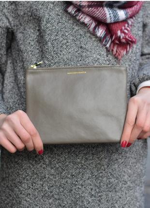 Стильный кожаный клатч moss copengahen (дания) # косметичка натуральная кожа # кошелек
