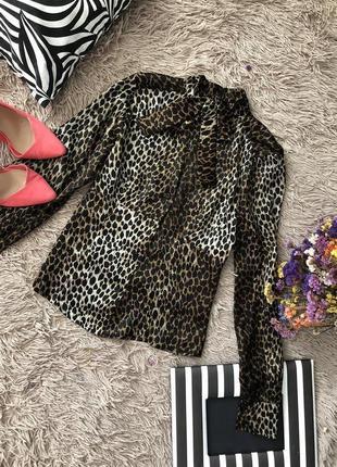 Трендовая леопардовая итальянская блуза размер м