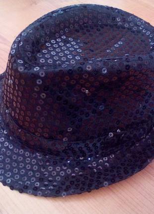 Карнавальная шляпа диско гангстерская светящаяся с паетками для вечеринок