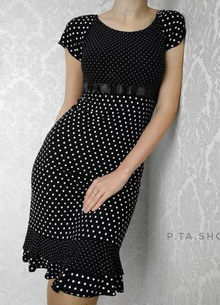Классическое очаровательное платье размер s черное в горошек в горох