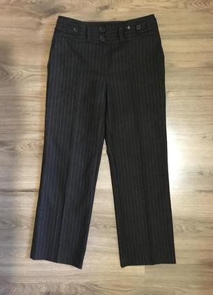 Тёплые шерстяные брюки в полоску,56%шерсть!