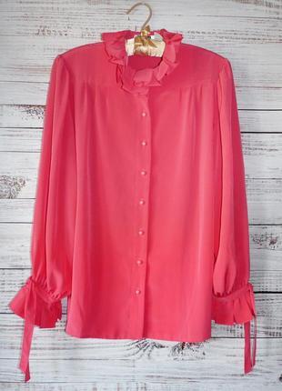 Блуза с гофрированным воротником и манжетами rouie