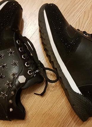 Сникерсы, кроссовки черные на платформе sharman