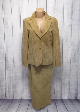 Эксклюзивный кожаный костюм ginger by arma, 16 (l, 44), пиджак+юбка, как новый!