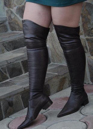 Сапоги, ботфорди, чоботи чулки, san marina кожа, острый носок, тренд 2019
