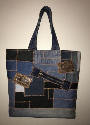 Ручная работа. оригинальная сумка из старых джинсов hand made