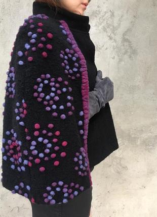 Дизайнерский кейп пончо из шерсти пальто жилетка