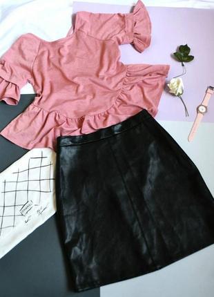Футболка блузка с баской с рюшами с рюшей розовая пудровая