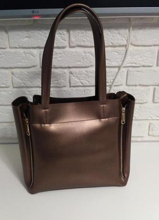 Большая молодежная сумка на плечо на молнии, цвет бронза