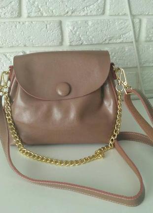 Классная кожаная сумочка через плечо, -цвет кофейно-розовый