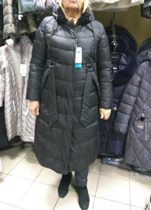 Зимнее длинное пальто пуховик mishele больших размеров 48 50 52 56 58 60 62  размер