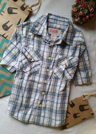 Клетчатая рубашка на мальчика 4-5 лет 110 см с коротким рукавом сорочка