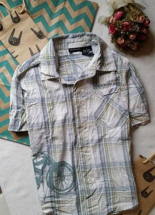 Рубашка клетчатая с принтом на мальчика 4-5 лет 110 см клетка короткий рукав сорочка
