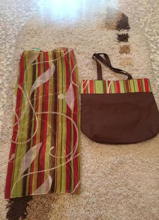 Пляжная сумка mary kay коричневая с парео, мери кей, женская сумка