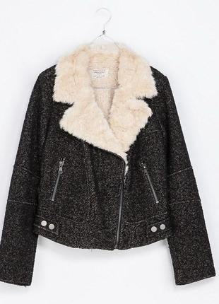 Куртка твидовая  косуха пальто шоколадного цвета на меху