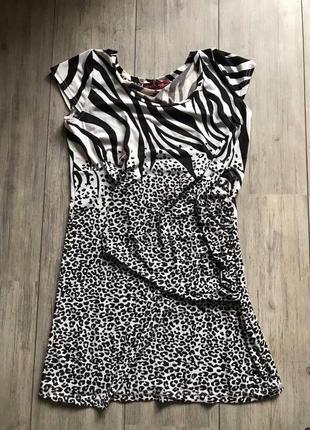 Платье-туника модного звериного принта