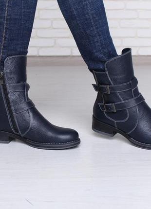 Женские весенне-осенние ботинки синего цвета