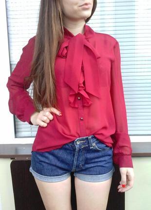 Шифоновая блуза, цвета марсала