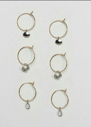 Набор серьги кольца asos