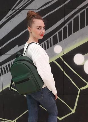 Стильный женский рюкзак зелёный для города, учебы, прогулок