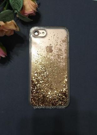 Очень красивый чехол с пересыпающими блестками на iphone айфон 7 / 8 с маленьким браком