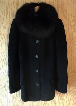Пальто классическое полупальто черное шерстяное воротником песца натурального меха меховым