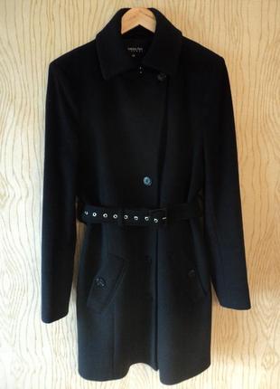 Пальто patrizia pepe кашемировое шерстяное теплое черное поясом осеннее зимнее приталенное