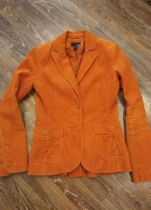 Рыжий пиджак вельвет размер s-xs